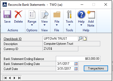 microsoft dynamics gp tip how to use bank reconciliation in