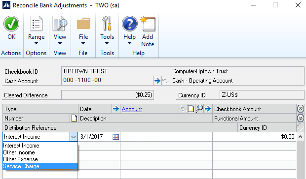 Bank Reconciliation in Microsoft Dynamics GP -2