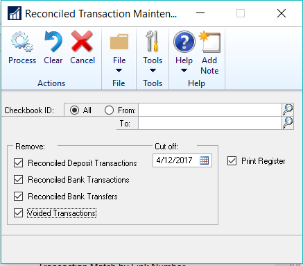 Dynamics GP 2016 R2 Feature of the Day-Bank Reconciliation Tracks History