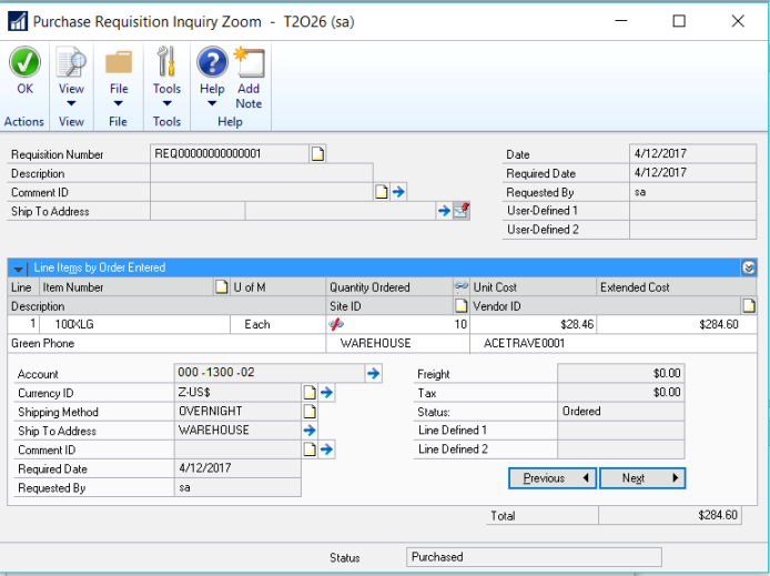 Dynamics GP 2016 R2 Feature of the Day-Requisition Inquiry Visual