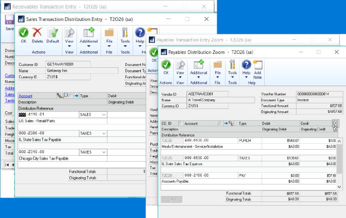 Dynamics GP 2016 R2 Feature of the Day-Sales-Payables Distribution Line Display Expanded
