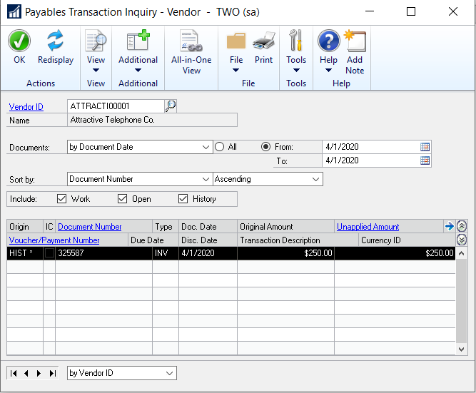 Image 1: Detail in accounts payable sub-ledger showing the voided invoice