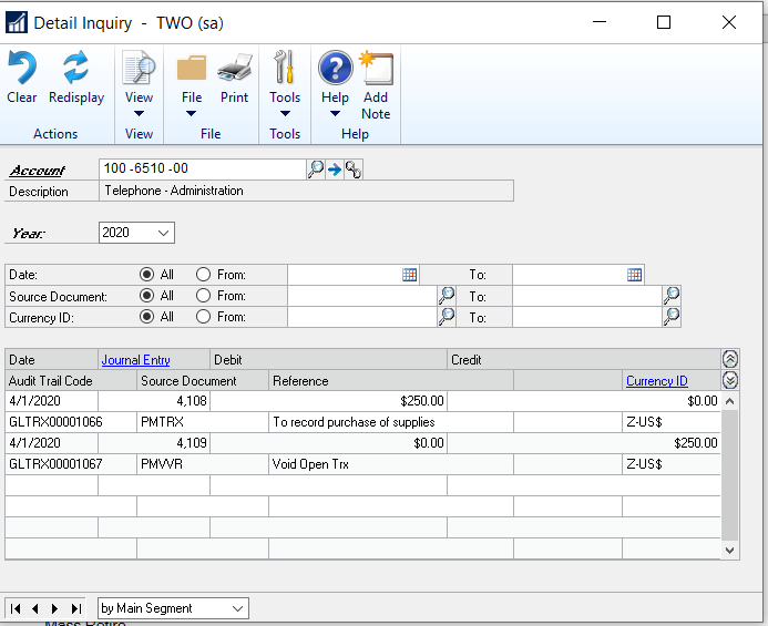 Image 2: Detail in general ledger showing accounts payable invoice that was voided.