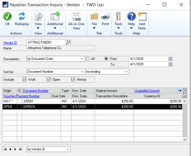 Image 3: Payables transaction record