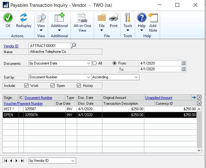 Image 3: Payables transaction record