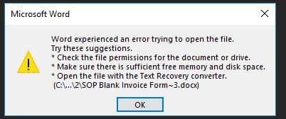 Dynamics GP Print Error Word Document Template