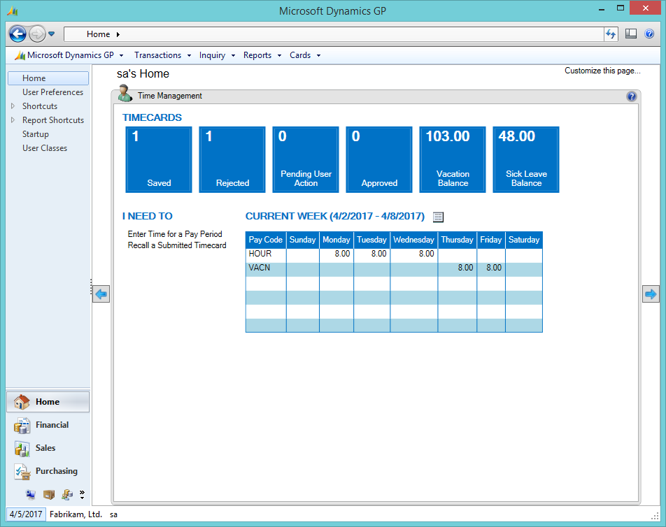 Microsoft Dynamics GP 2013 R2 Feature of the Day – Employee Self