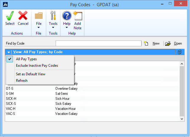 Microsoft Dynamics GP 2016 Feature of the Day – Inactive Pay Codes Lookup