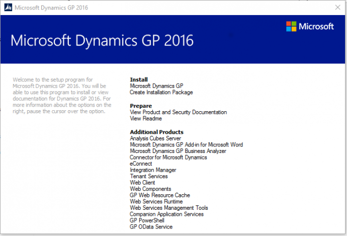 Microsoft Dynamics GP 2016 Feature of the Day – OData Service Deployment