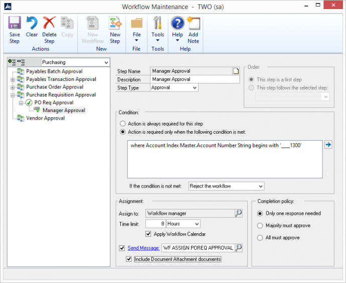 Microsoft Dynamics GP 2016 Feature of the Day – Workflow Condition Management Enhancement