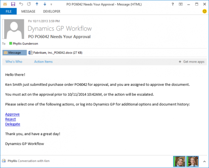 Microsoft Dynamics GP 2016 Feature of the Day – Workflow Reassignment Notifications