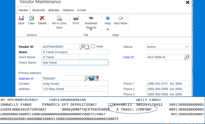 Microsoft Dynamics GP 2016 R2 Feature of the Day - Safepay file displays Check Name from Check