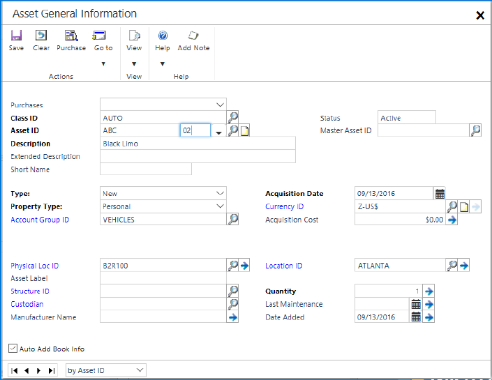 Microsoft Dynamics GP 2016 R2 Feature of the Day - Save Fixed Asset ID With Suffix