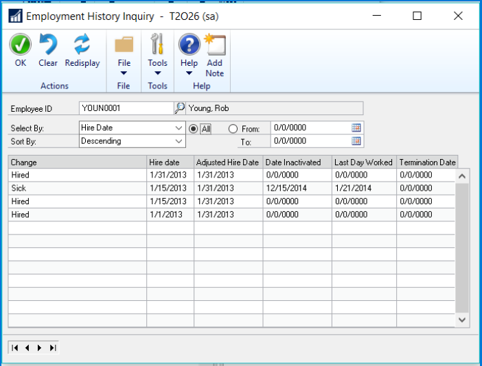 Microsoft Dynamics GP 2016 R2 Feature of the Day - Track Termination and Rehire Dates in Human Resources