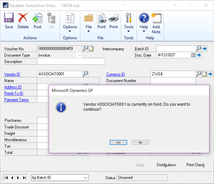 Microsoft Dynamics GP 2018 R2 Feature of the Day-Display Vendor Hold Status 2