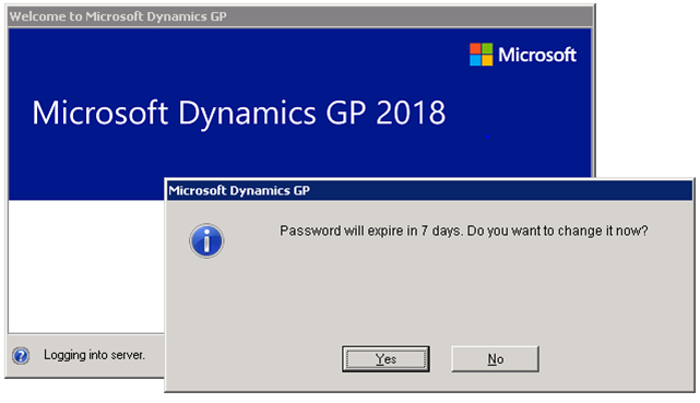 Microsoft Dynamics GP 2018 R2 Feature of the Day-Increase Dynamics GP Password Maximum Length and a Password Expiration Notification 2