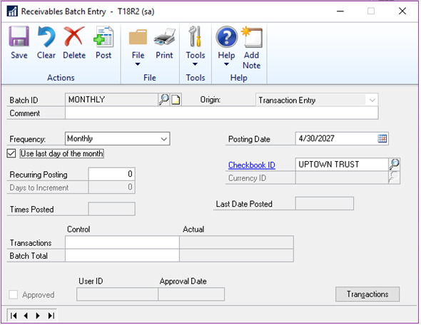 1. Microsoft Dynamics GP 2018 R2 Feature of the Day-Monthly Recurring Batches
