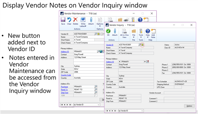 Microsoft Dynamics GP 2018 Feature of the Day-Notes on Inquiry Windows