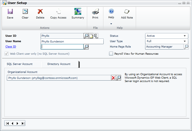 Dynamics GP 2015– Organizational Account User Authentication