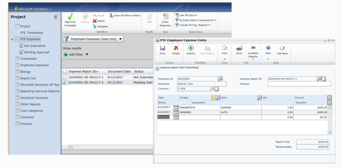 dynamics gp 2015 project employee expense report entry