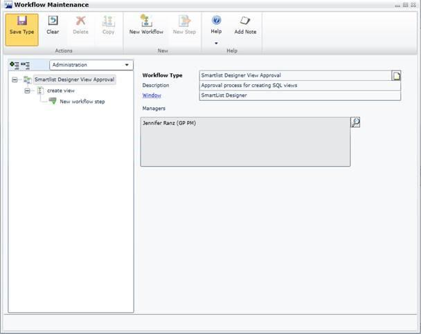 SmartList Designer View Workflow Type