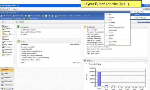 Microsoft Dynamics GP Toolbar