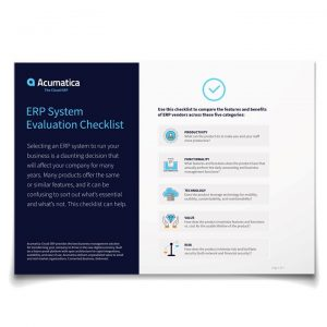 Acumatica ERP System Evaluation Checklist