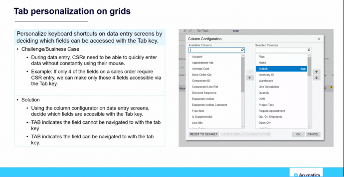 Acumatica Tab Personalization on Grids