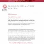 Cloud Delivers More ROI