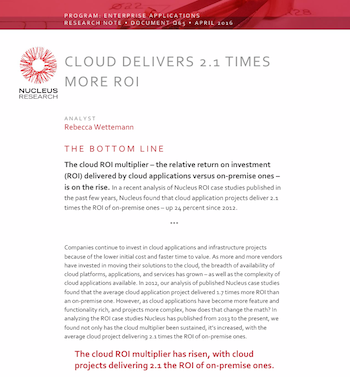 Cloud Delivers More ROI