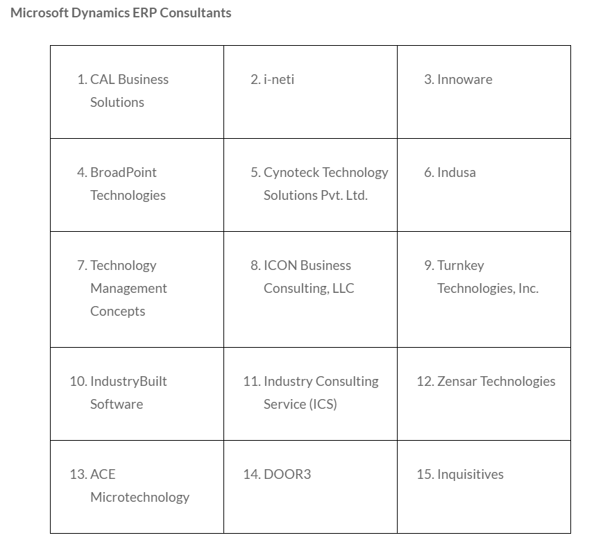 Clutch 2020 - Microsoft Dynamics ERP Consultants