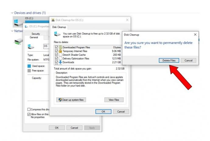 Step 4: Delete the selected files.