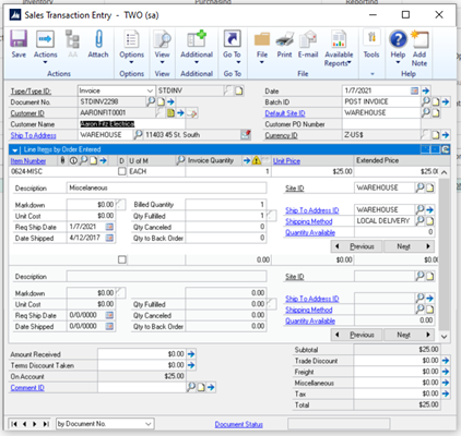 SalesPad Sales Transaction Entry Screen