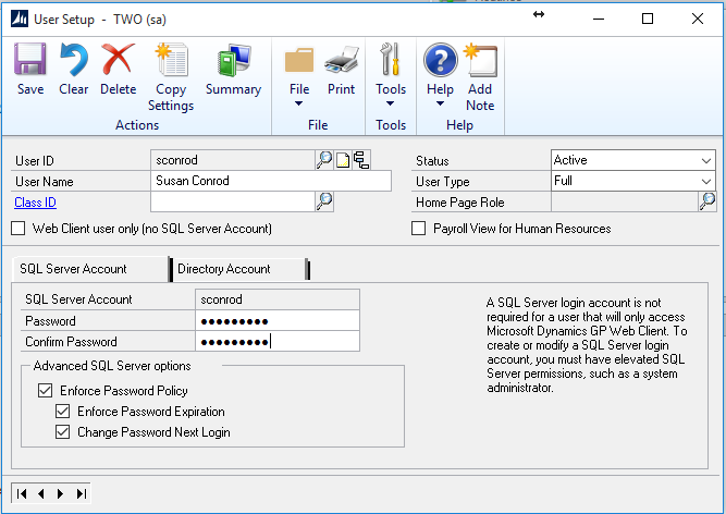 dynamics gp how to add or delete a user