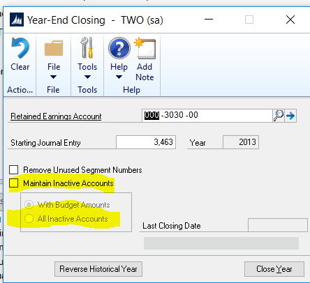 Dynamics GP Tip: Beware of Maintain Inactive Accounts Option in Year End Closing