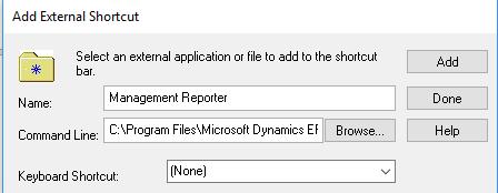 dynamics gp Management Reporter Shortcut